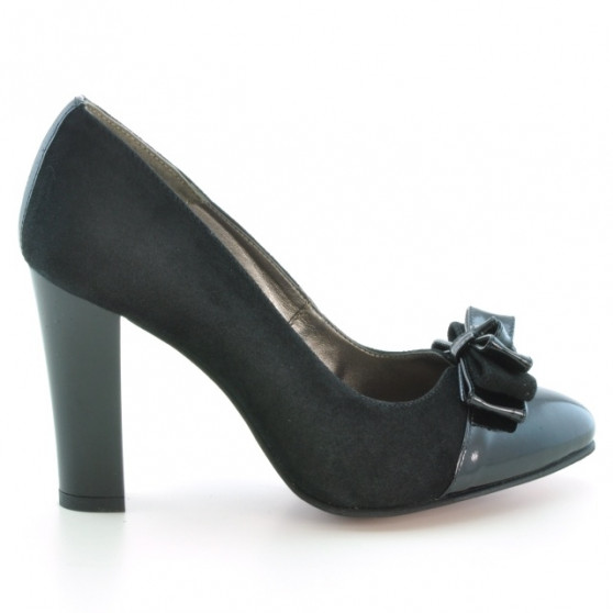 Pantofi eleganti dama 1226 lac negru+negru antilopa
