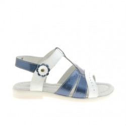 Small children sandals 18c patent indigo+white