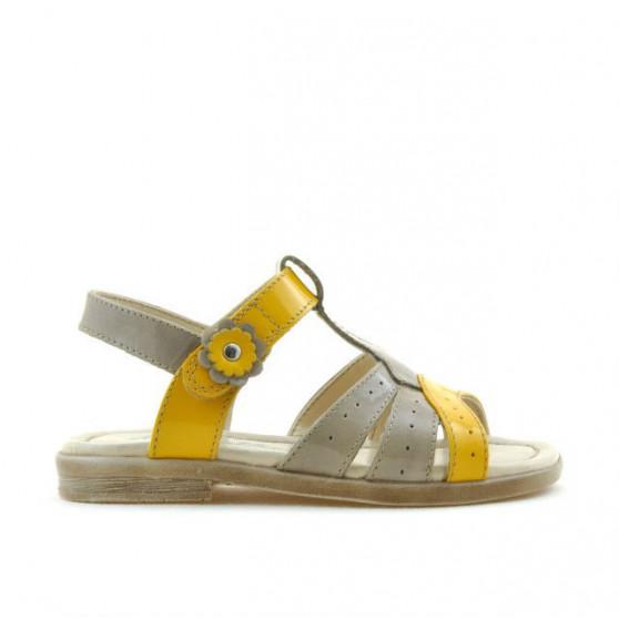 Sandale copii mici 18c lac capucino+galben