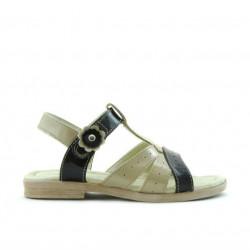 Sandale copii mici 18c lac bej+negru