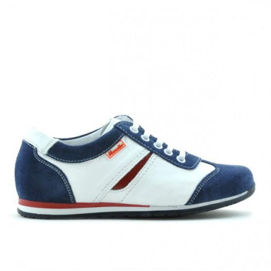 Pantofi copii 136 indigo velur+alb