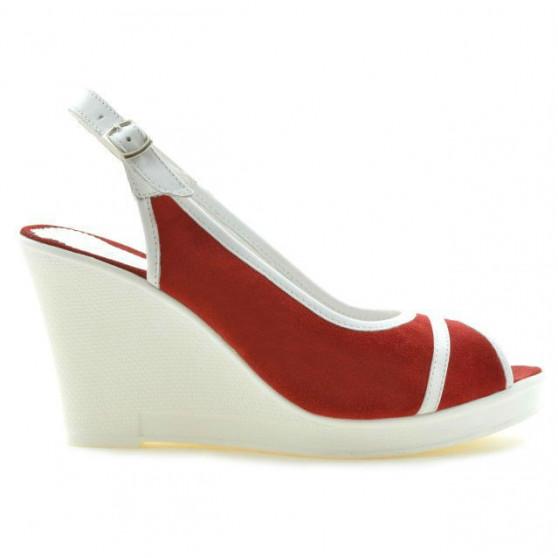 Sandale dama 5000 rosu velur+alb