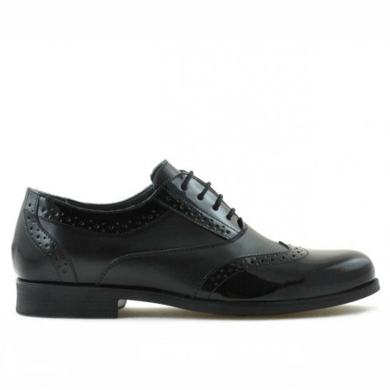Pantofi eleganti adolescenti 393 lac negru combinat