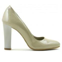 Women stylish, elegant shoes 1214 patent beige