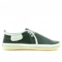 Men loafers, moccasins 865 green+beige