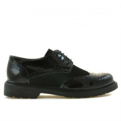 Pantofi casual dama 663 lac negru combinat