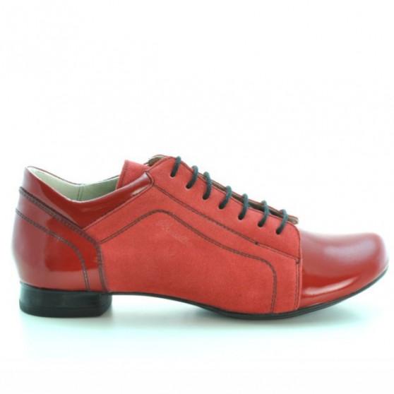 Pantofi casual dama 645 rosu combinat