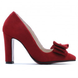 Women stylish, elegant shoes 1252 red antilopa