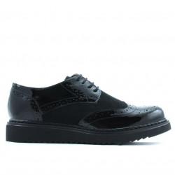 Pantofi casual dama 663-1 lac negru combinat
