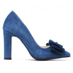 Pantofi eleganti dama 1252 turcoaz antilopa