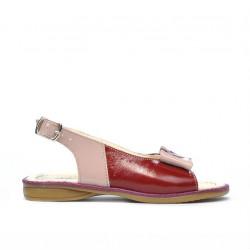 Small children sandals 58c patent bordo+beige pearl