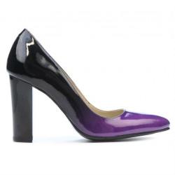 Pantofi eleganti dama 1261 lac mov+negru