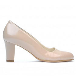 Women stylish, elegant shoes 1209 patent beige pearl