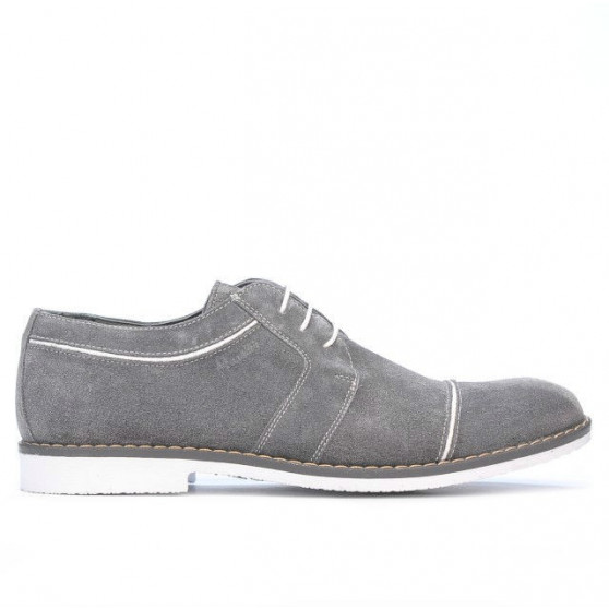 Pantofi casual / eleganti barbati 749 gri velur+alb