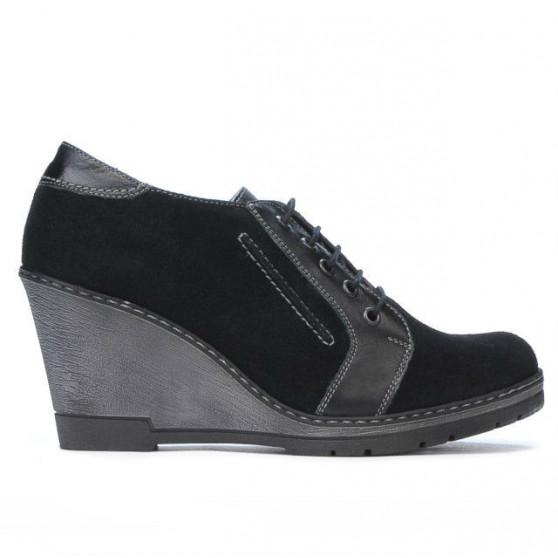 Pantofi casual dama 625 negru velur combinat