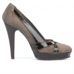 Pantofi eleganti dama 1206 nisip antilopa combinat
