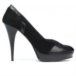 Pantofi eleganti dama 1092 negru antilopa combinat