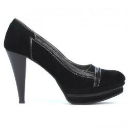 Pantofi eleganti dama 1094 negru antilopa combinat