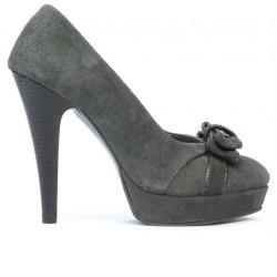 Pantofi eleganti dama 1095-1 gri antilopa combinat