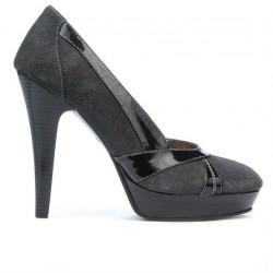 Pantofi eleganti dama 1206 gri antilopa combinat