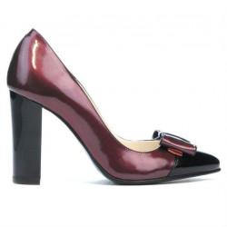 Women stylish, elegant shoes 1262 patent bordo+black