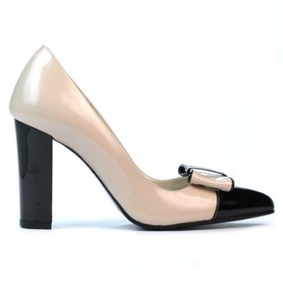 Pantofi eleganti dama 1262 lac bej+negru