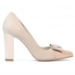 Pantofi eleganti dama 1262 antilopa ivoriu combinat