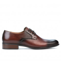 Men stylish, elegant shoes 837 a dark brown