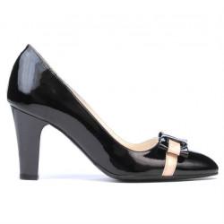 Pantofi eleganti dama 1263 lac negru+bej