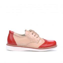 Pantofi copii mici 60c lac rosu+bej01