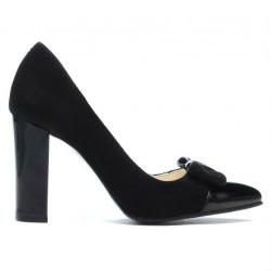 Pantofi eleganti dama 1262 negru antilopa combinat