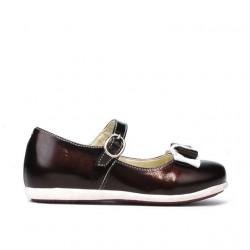 Pantofi copii mici 51c lac bordo+alb