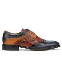 Men stylish, elegant, casual shoes 874 indigo+brown