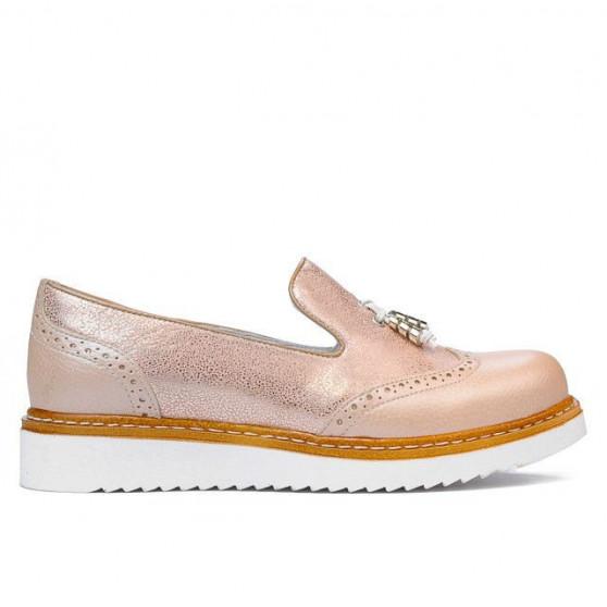 Pantofi casual dama 659 pudra combinat