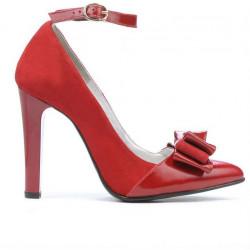 Pantofi eleganti dama 1264 rosu antilopa+lac rosu