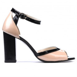Women sandals 1266 patent ivory+black
