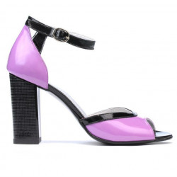 Women sandals 1266 patent purple+black