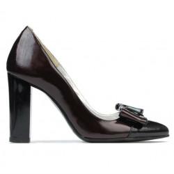 Women stylish, elegant shoes 1262 patent bordo satin+patent black