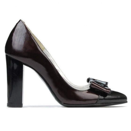 Pantofi eleganti dama 1262 lac bordo satinat+lac negru