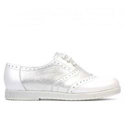 Pantofi casual dama 693 alb sidef combinat