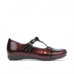 Pantofi copii mici 62c lac bordo+negru