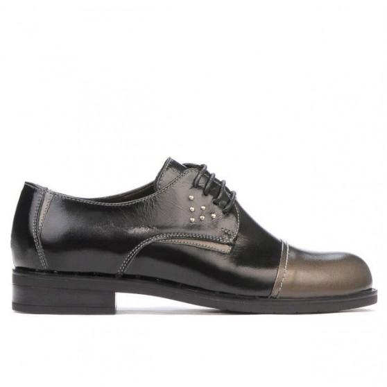Pantofi casual dama 696 lac negru combinat