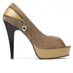 Sandale dama 1202 nisip antilopa combinat