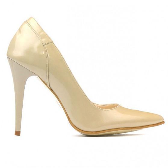 Women stylish, elegant shoes 1230 patent beige