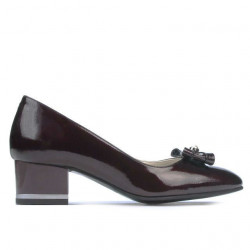 Women stylish, elegant shoes 1270 patent bordo satin