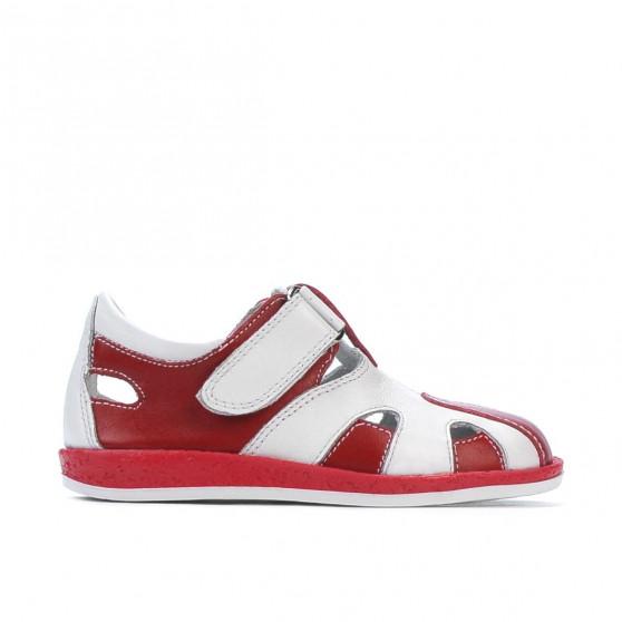 Pantofi copii mici 07-1c rosu+alb