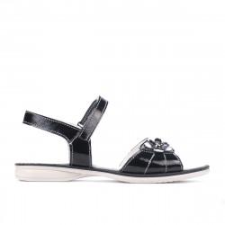 Sandale copii 524 lac negru+alb