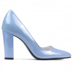 Women stylish, elegant shoes 1261 patent bleu