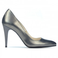 Women stylish, elegant shoes 1246 gray metalizat