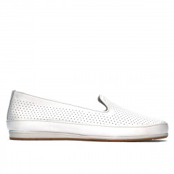 Women loafers, moccasins 6013 white